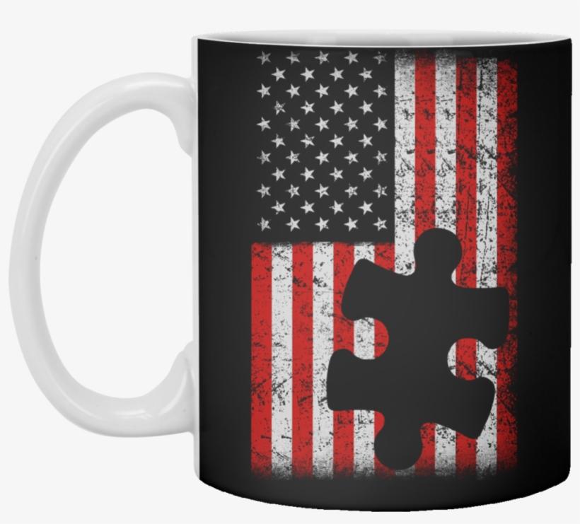 American Flag Puzzle Piece Coffee Mug - Educa 1000 Piece American Flag Puzzle With State Names, transparent png #1700547