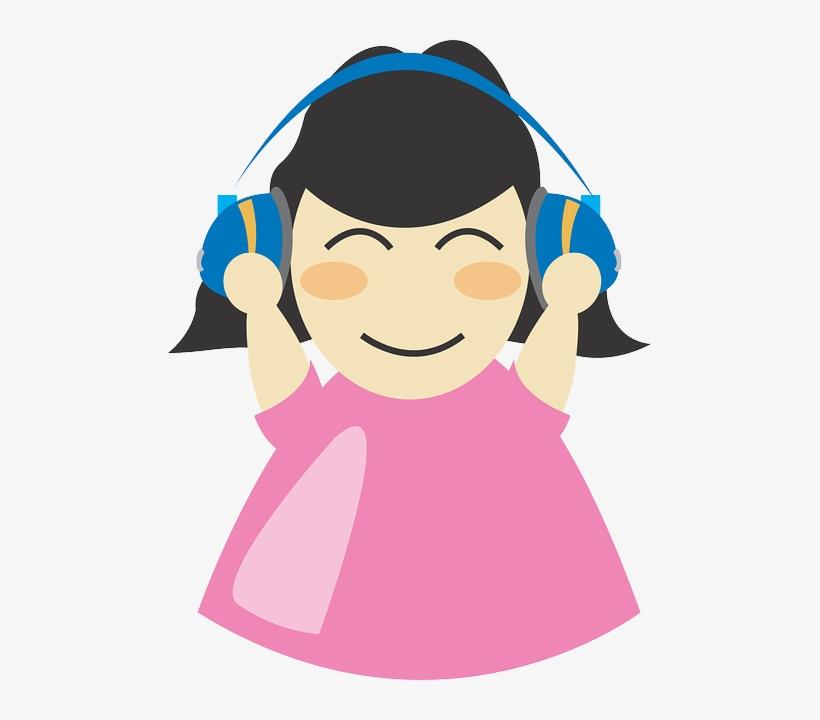 Earphones, Girl, Headphone, Listen, Music, Women - Girl With Headphones Clipart, transparent png #1700575