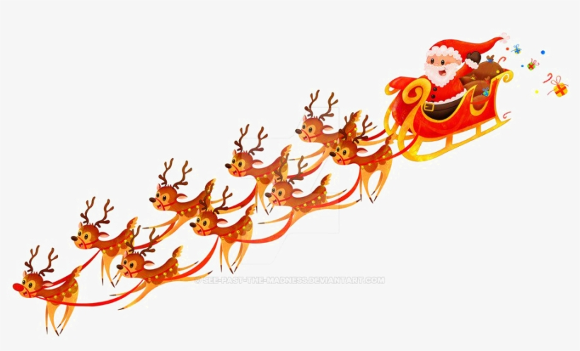 Santa Sleigh Png Free Download - Santa And Sleigh No Background, transparent png #1700750