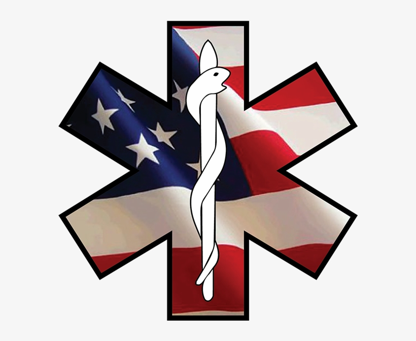 Star Of Life Emergency Ems Decal - Usa 4x6ft Poly Usa Flag Usa46, transparent png #1701771