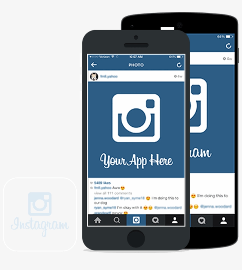 Development Cost For Making App Like Instagram - Iphone Instagram Mockup Png, transparent png #1704327