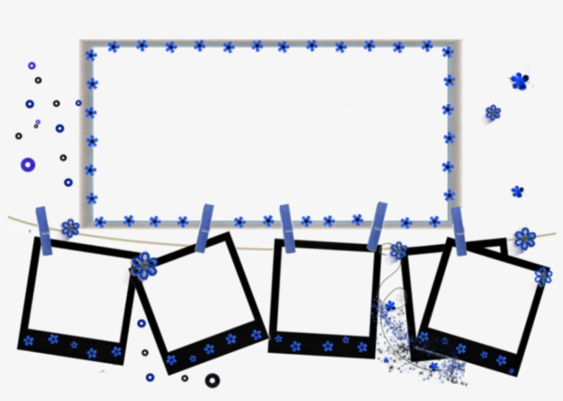 Frame Polaroid Photo Frames Borders Hanging Stars Blue - Picture Frame, transparent png #1705744