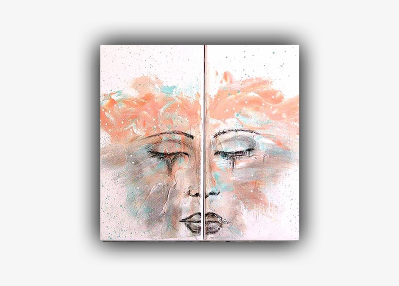 Abstract Face Double Canvas Acrylic Painting Abstract - Modern Art, transparent png #1708983