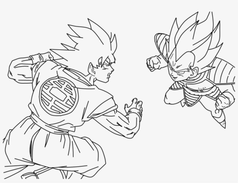 Dibujo De Goku Kakarotto Peleando Cont Goku Y Vegeta Para