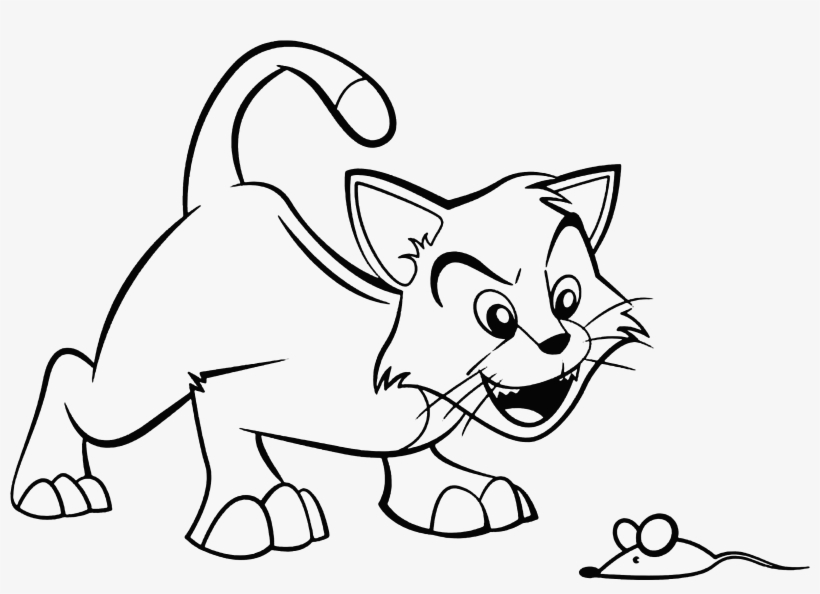 Collection Of Free Cat Drawing Sketch - Imagenes De Un Gato Y Un Raton Para Dibujar, transparent png #1718196