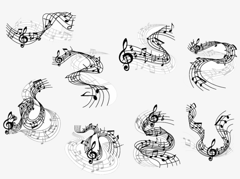 Musical Note Clef Clave De Sol Notes - Flowing Music Note Wave, transparent png #1720928
