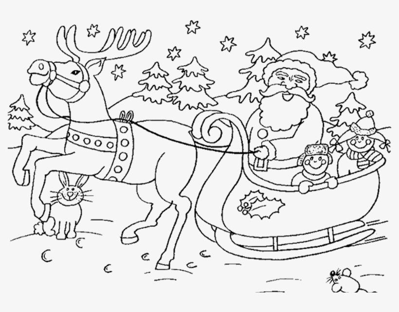 Santa Claus In Sleigh Coloring Page Santa And Sleigh - Colouring ...