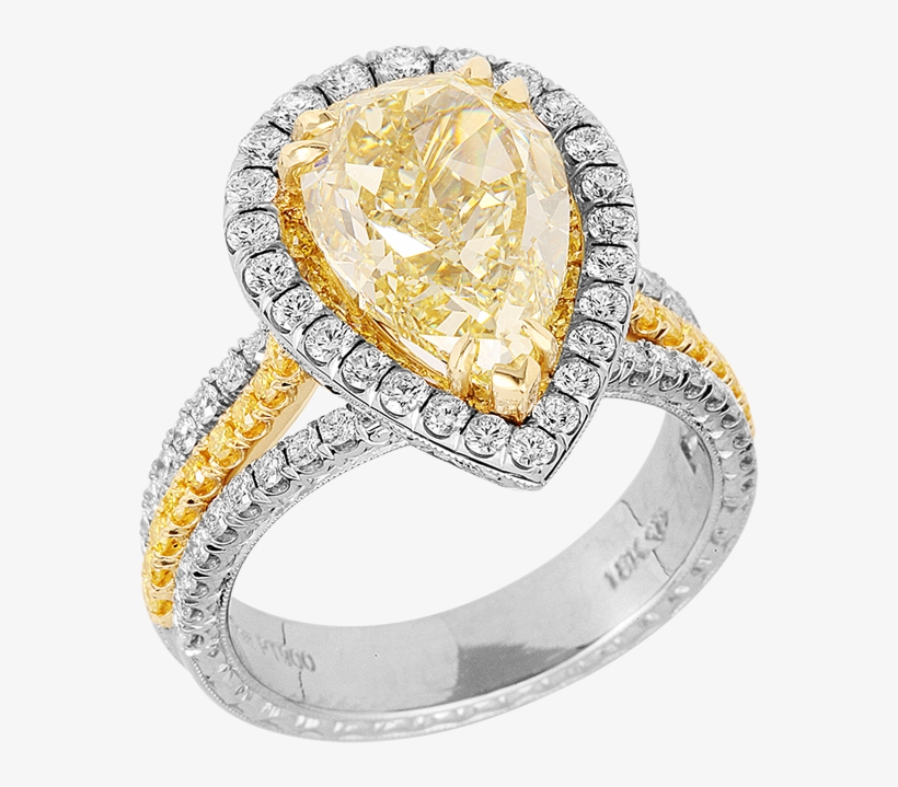 Kpr 659 Platinum And 18k Yellow Gold Ring - 3ct 10k White Gold Engagement Ring Yellow Pear Three, transparent png #1737107