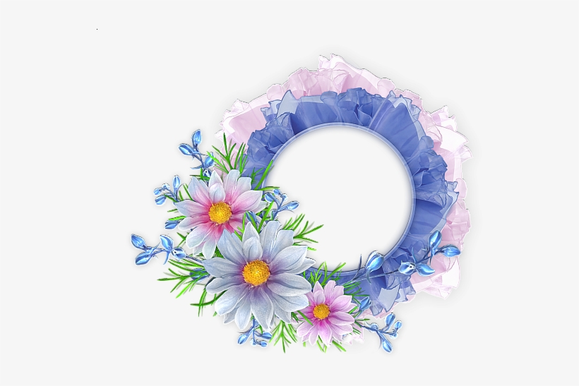 Blue And Pink Round Transparent Frame With Flowers - Flower Round Frame Png, transparent png #1741877