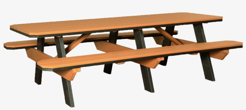 3'x8' Poly Traditional Picnic Table With Attached Benches - 3' X 8' Poly Picnic Table With Attached Benches, transparent png #1742248