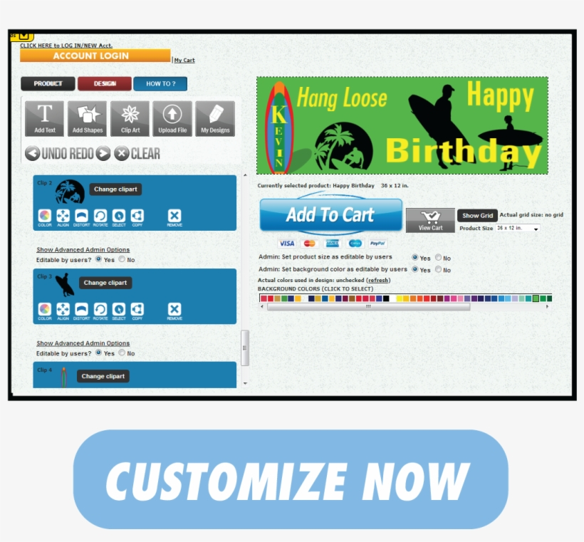 Hang Loose Happy Birthday Banner