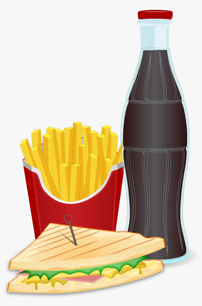 It Is Difficult To Avoid Fast Food And Parties - Sandwich And Fries Clipart, transparent png #1747156