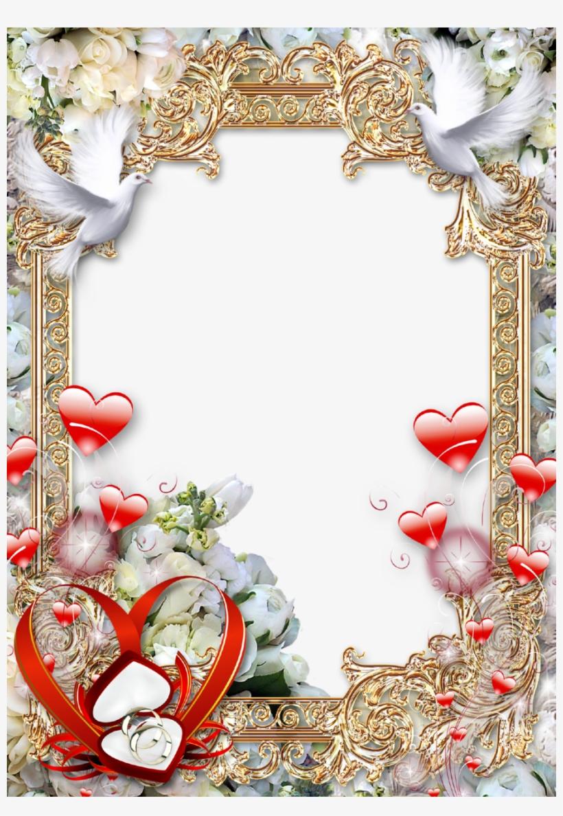 Photo Frame Golden Luxury - Wedding Photo Frame Png, transparent png #1748304