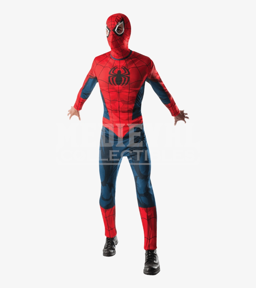 Adult Spider-man Costume And Mask - Spiderman Muscle Chest Mens Costume, transparent png #1749846