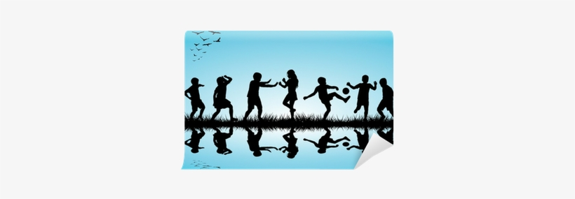 Group Of Children Silhouettes Playing Outdoor Near - Silhouette, transparent png #1764801