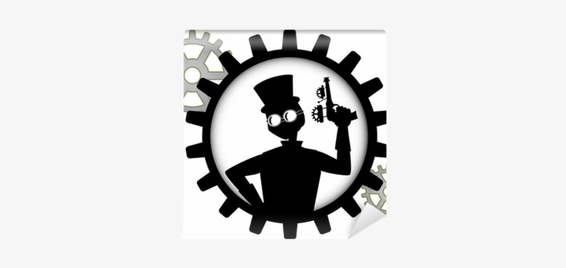 Silhouette Of Steampunk Man Holds Gun Inside Gear Wall - Depositphotos, transparent png #1770944