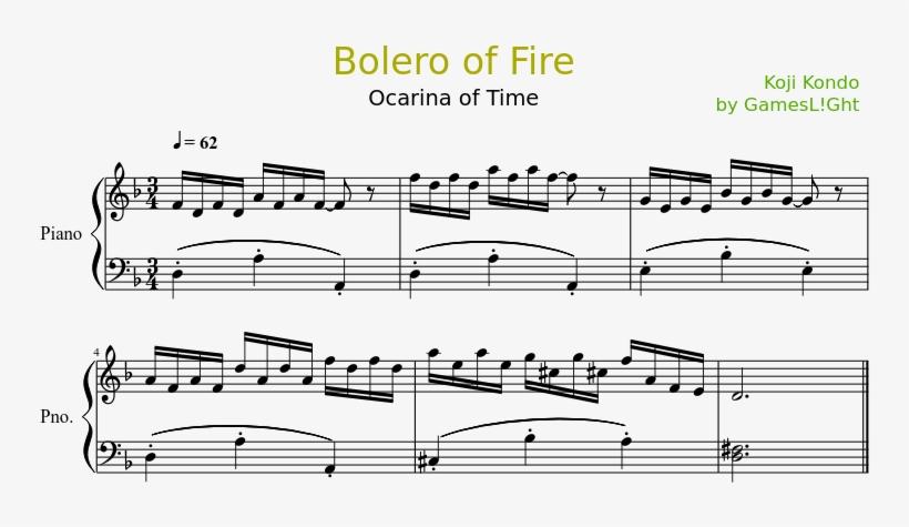 Bolero Of Fire Sheet Music Composed By Koji Kondo By - Across Black Keys Piano Sheet, transparent png #1778108