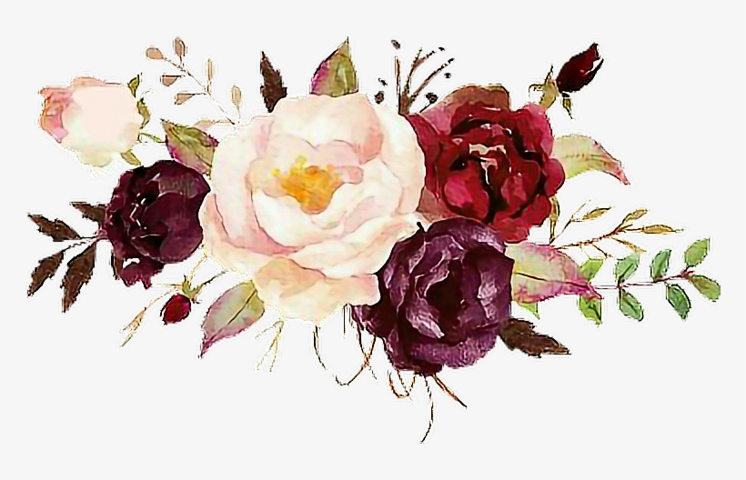Report Abuse - Burgundy Watercolor Flowers Png, transparent png #180524