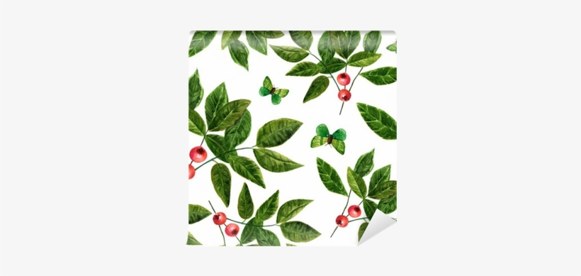 Seamless Background Pattern With Watercolor Leaves - Watercolor Painting, transparent png #181376