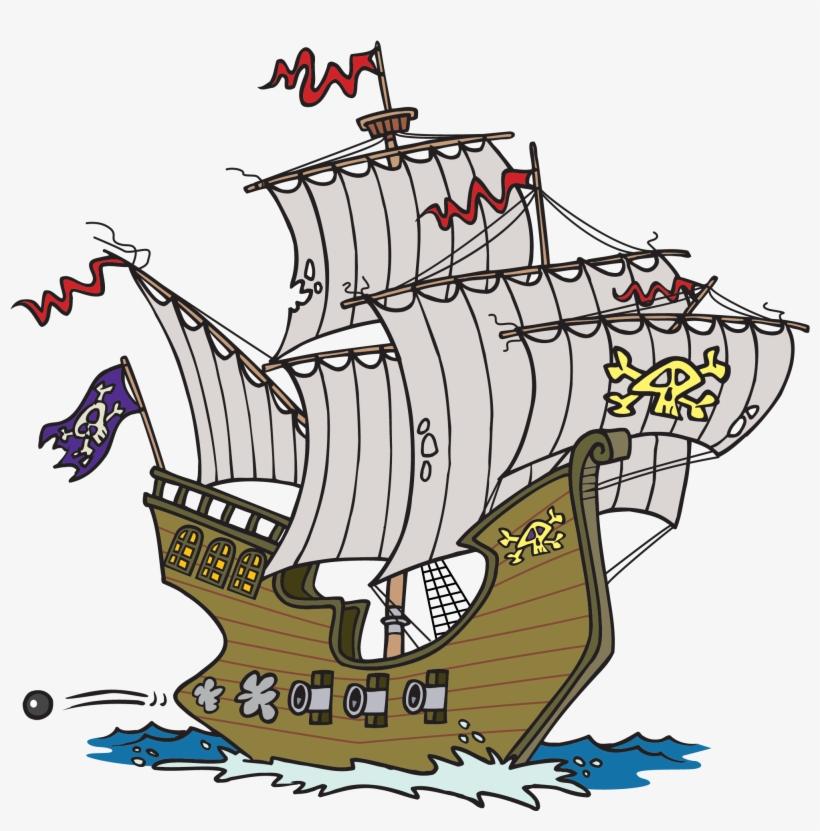 Cartoon Pirate Ship - Pirate Ships Clip Art, transparent png #181574