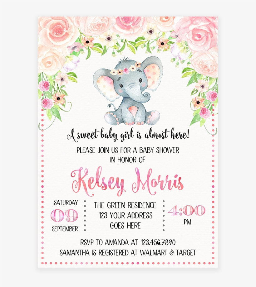 Blush Pink Fl Elephant Baby Shower