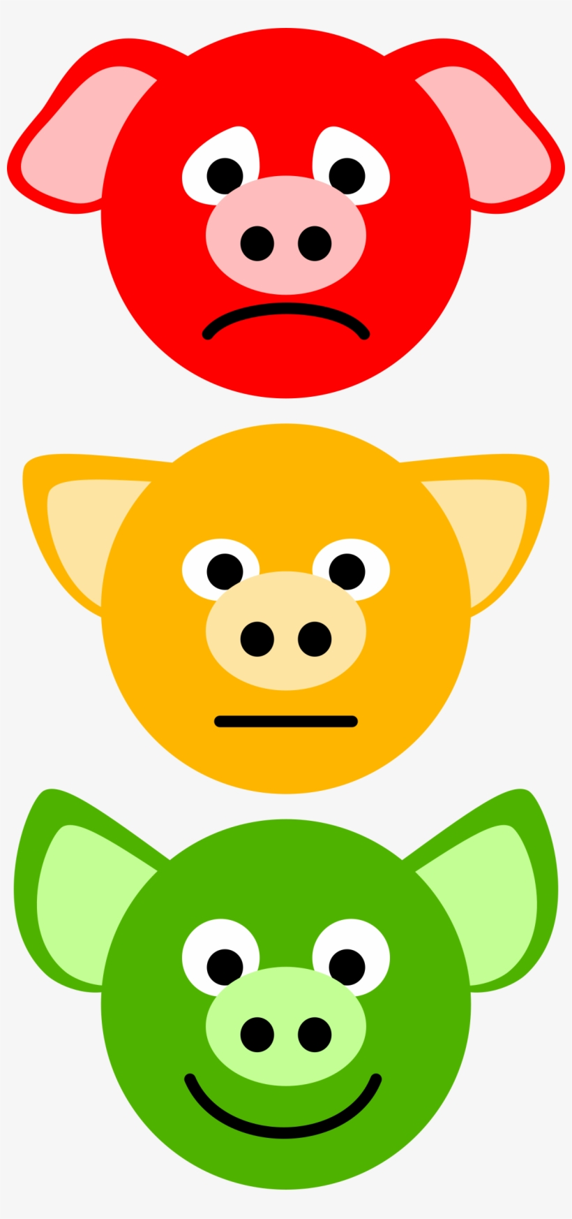 This Graphics Is The Traffic Lights Of Pigs About - Red Light Yellow Light Green Light Face, transparent png #183222