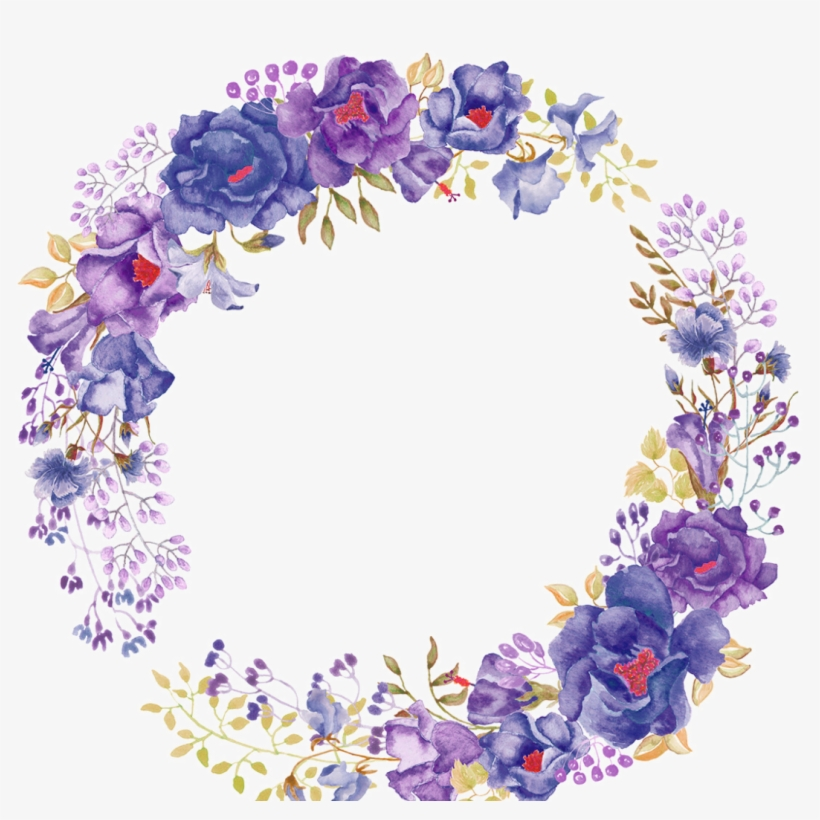 Ftestickers Watercolor Flowers Floralwreath Purple - Watercolor Art Paintings Flowers, transparent png #184571