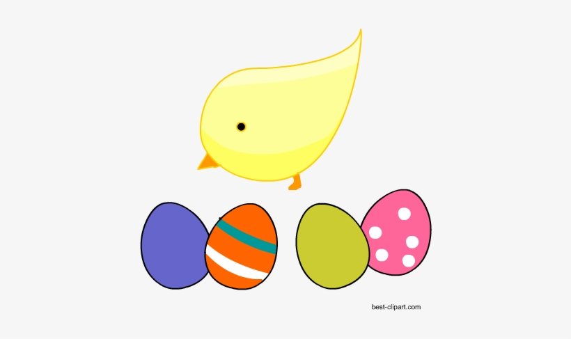 Easter Chick Standing Among Colorful Easter Eggs Clip - Colorful Easter Eggs, transparent png #186667