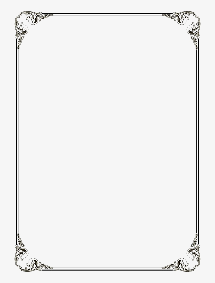 Black Border Frame Png File - Calligraphic Frames And Borders, transparent png #187755