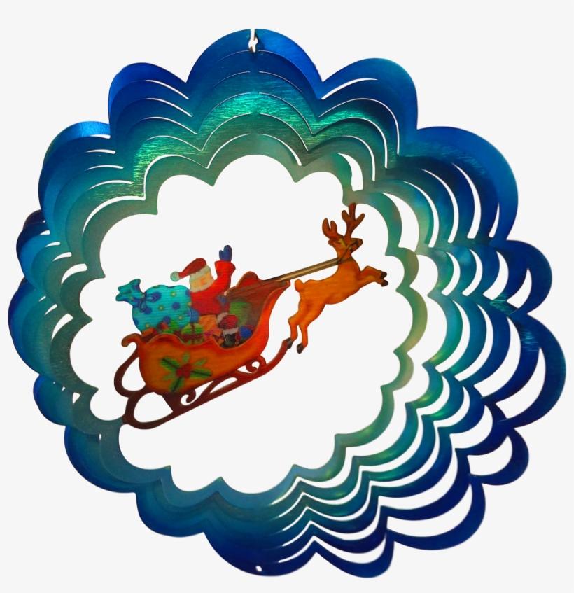 Christmas Santa's Sleigh Holiday Wind Spinner - Christmas Santa's Sleigh, transparent png #1802200