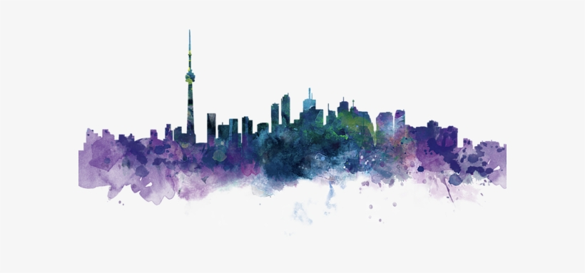 Click And Drag To Re-position The Image, If Desired - Toronto Skyline Watercolor, transparent png #1802537