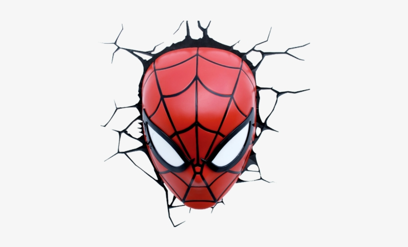 3d Light Fx Spider-man Face Wall Light - Marvel Spider-man Mask 3d Light, transparent png #1807541