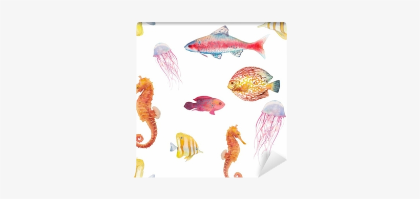 Watercolor Tropical Fish Seamless Pattern - Watercolor Painting, transparent png #1813680