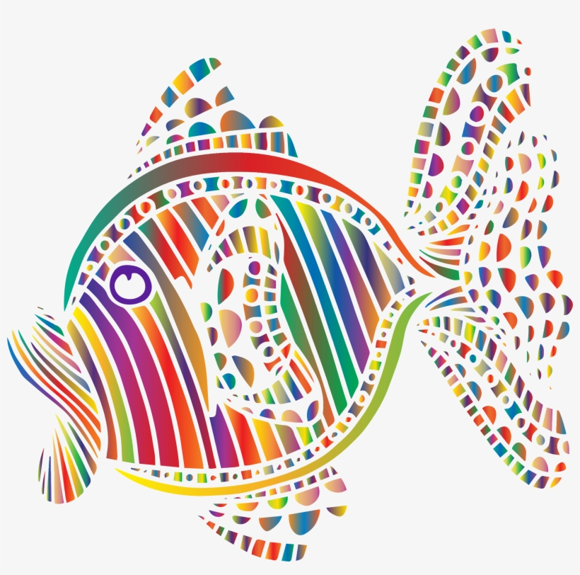 Abstract Colorful Fish 6 Vector Black And White - Clipart Abstract Png, transparent png #1813685