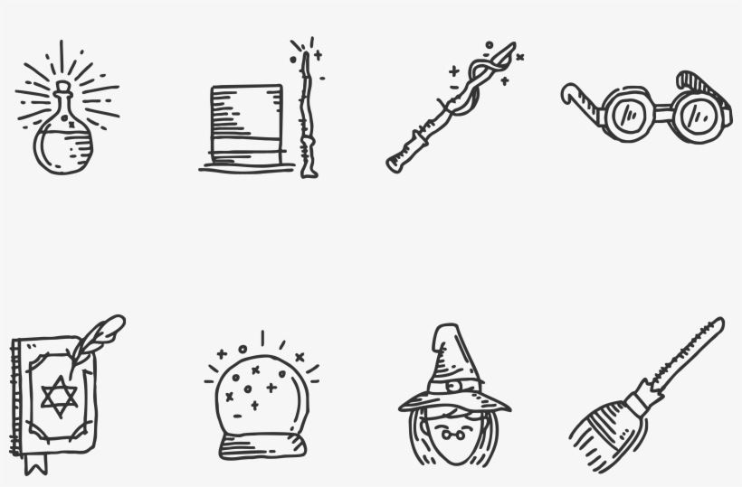 Hogwarts Hand Painted Icon Transprent Png Free - Harry Potter Magic Drawing, transparent png #1822358