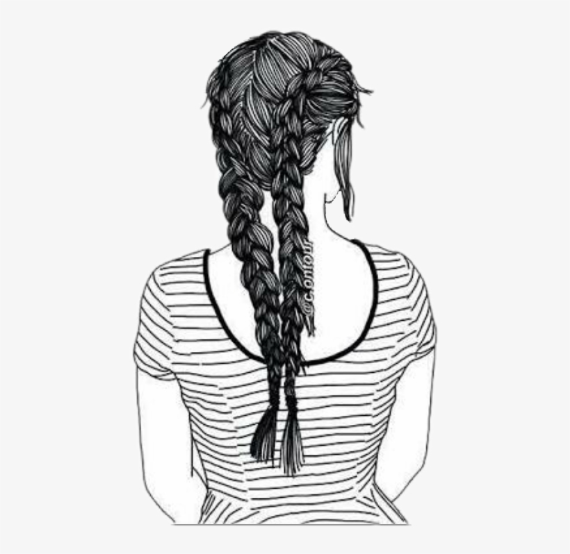 Drawing Cornrows French Braid - Drawn Tumblr Girl, transparent png #1825852