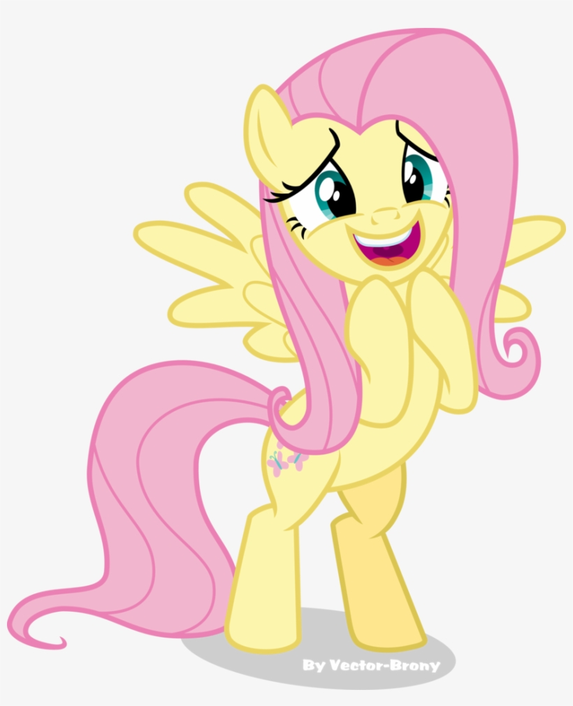 Vector-brony, Bipedal, Excited, Fluttershy, Happy, - Happy Mlp Pony Fluttershy, transparent png #1828296