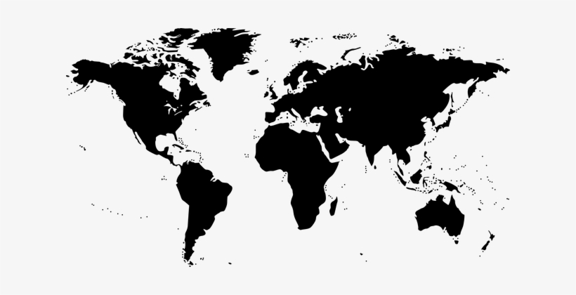 World Map Map World Black Earth Silhouette - World Map Clip Art Black And White, transparent png #1829293