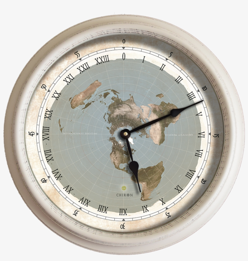15 5 Flat Earth Map White Roman Numerals 24 Hour Wall - Clock, transparent png #1830244