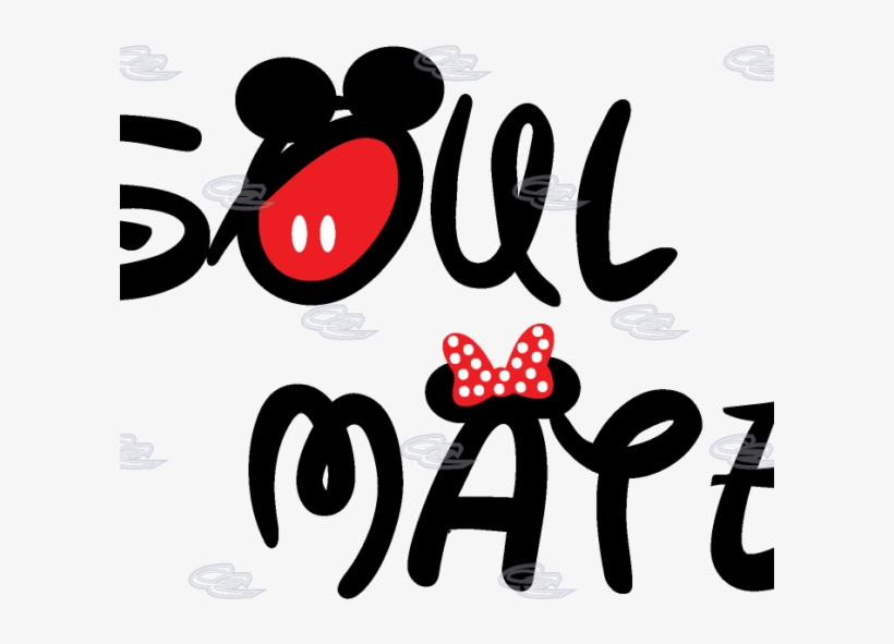 Soul Mate Couple Shirts Disney Font Minnie Mouse Bow - Wall
