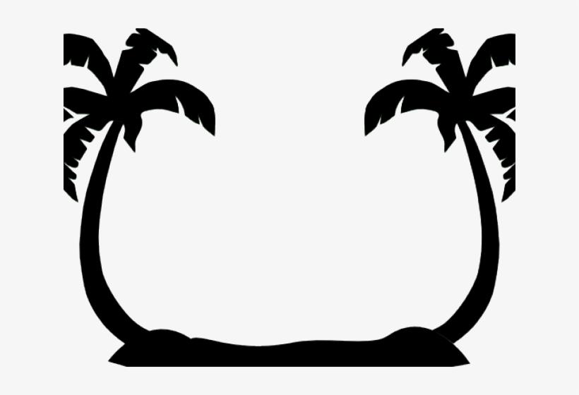 Palm Tree Clip - Beach Silhouette Clip Art, transparent png #1836111