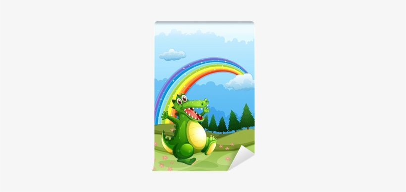 A Crocodile Walking And A Rainbow In The Sky Wall Mural - Rainbows Can Make Your Day Coloring Book, transparent png #1842212