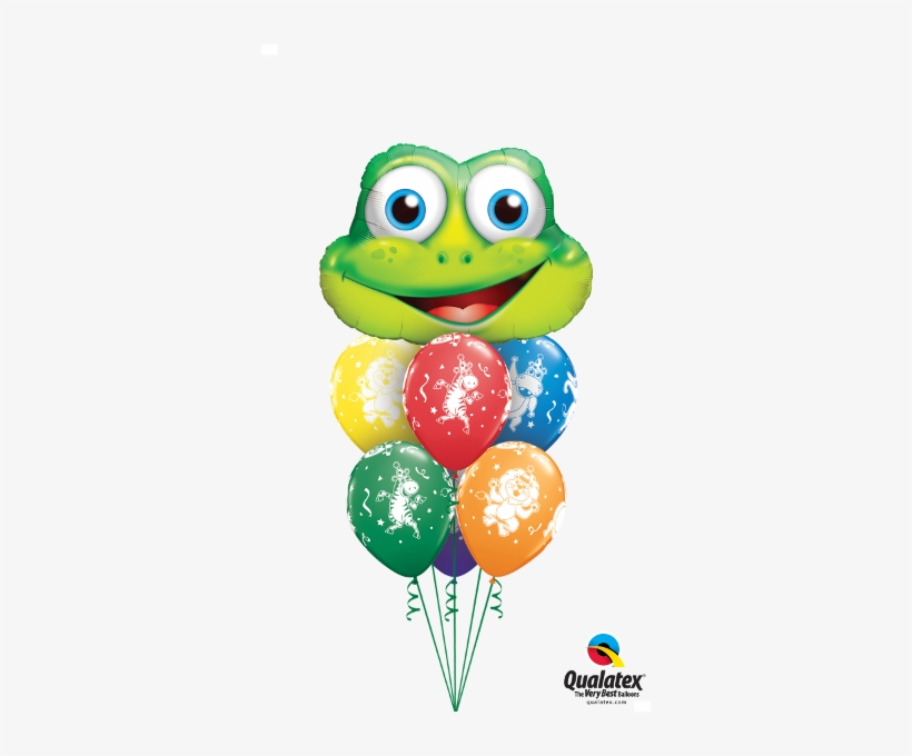 "Party Frog Balloon Bouquet - 11"" Assorted Carnival Party Animals Latex Balloons, transparent png #1842411"