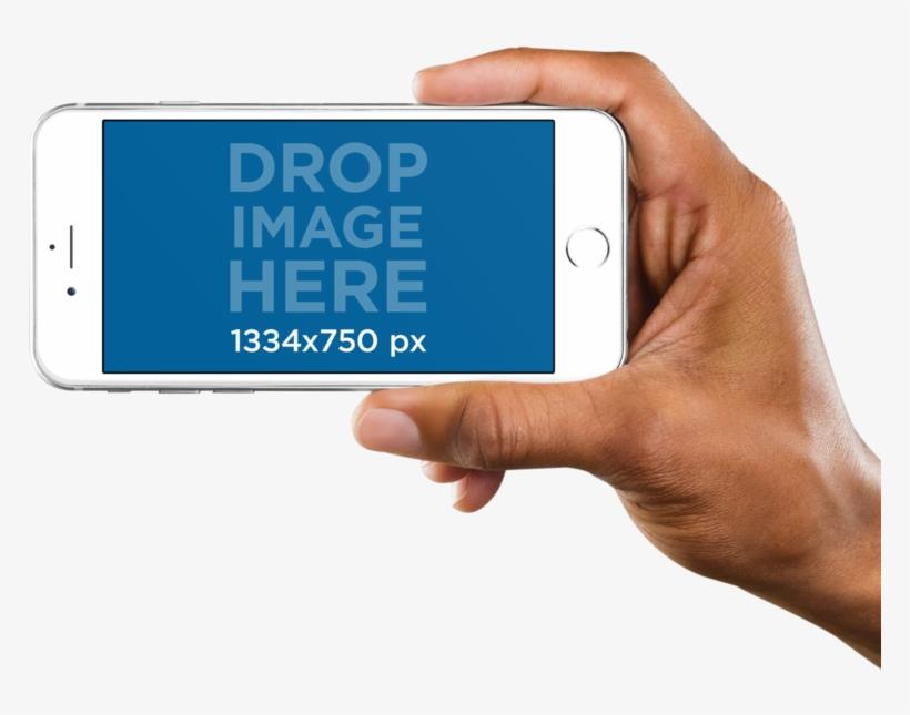 Landscape Iphone Mockups - Hand Holding Phone Sideways, transparent png #1842753