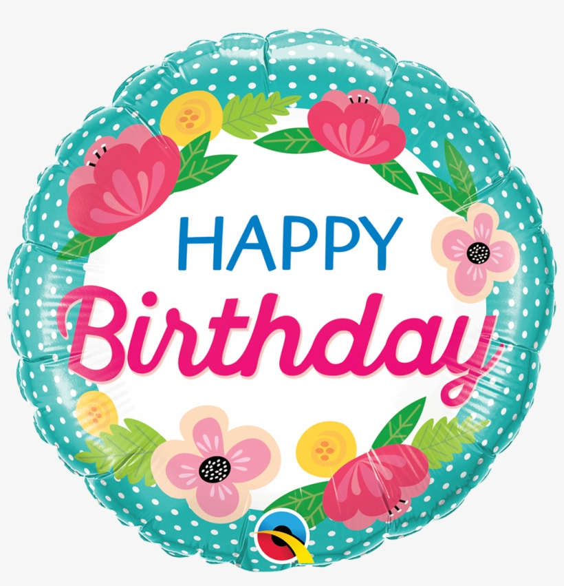 Happy Birthday Flowers Dots Foil Balloon - Happy Birthday Flowers Balloons, transparent png #1850645