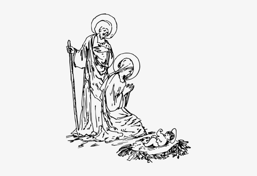 Nativity Black And White 8 Free Clip Art Nativity Scene - Nativity Scene Drawing, transparent png #1854341