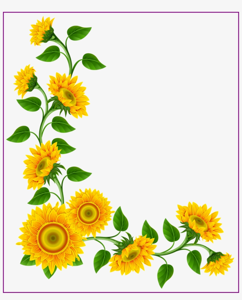 Stunning Sunflower Border Decoration Png Image This - Sunflower Clip Art Flowers, transparent png #1855296