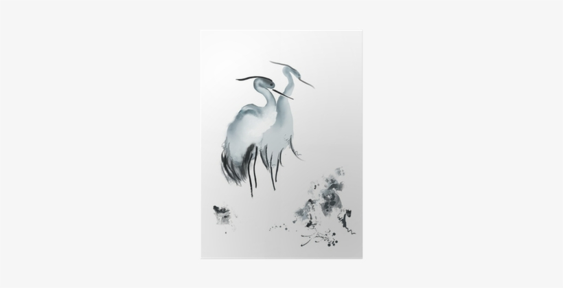 Elegant Birds Framed Painting Print Size: 30 X 45cm, transparent png #1857676