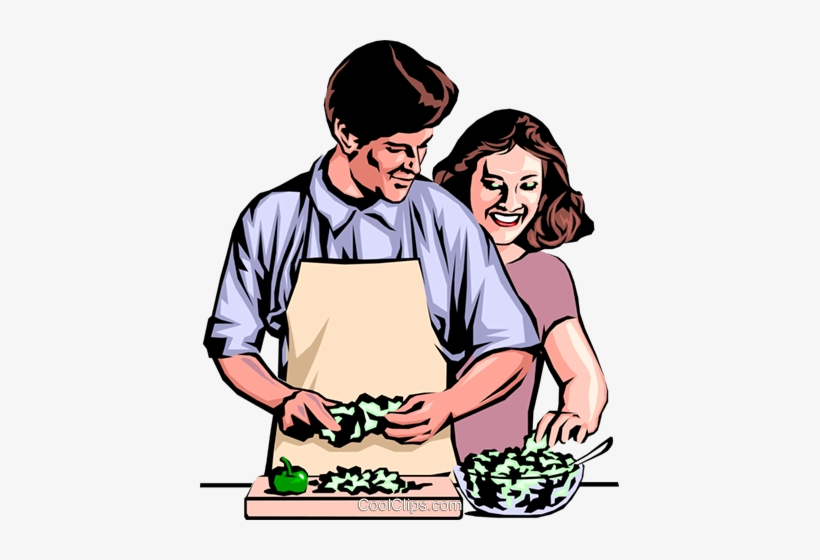 Man & Woman Preparing Dinner Royalty Free Vector Clip - Man And Woman Cooking Clipart, transparent png #1859779