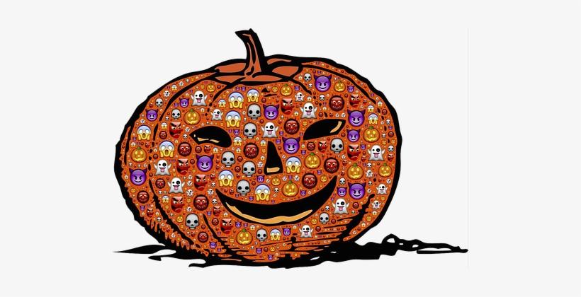 Pumpkin Jack O Lantern Halloween Emoji Sca - Halloween Backgrounds Public Domain, transparent png #1861897